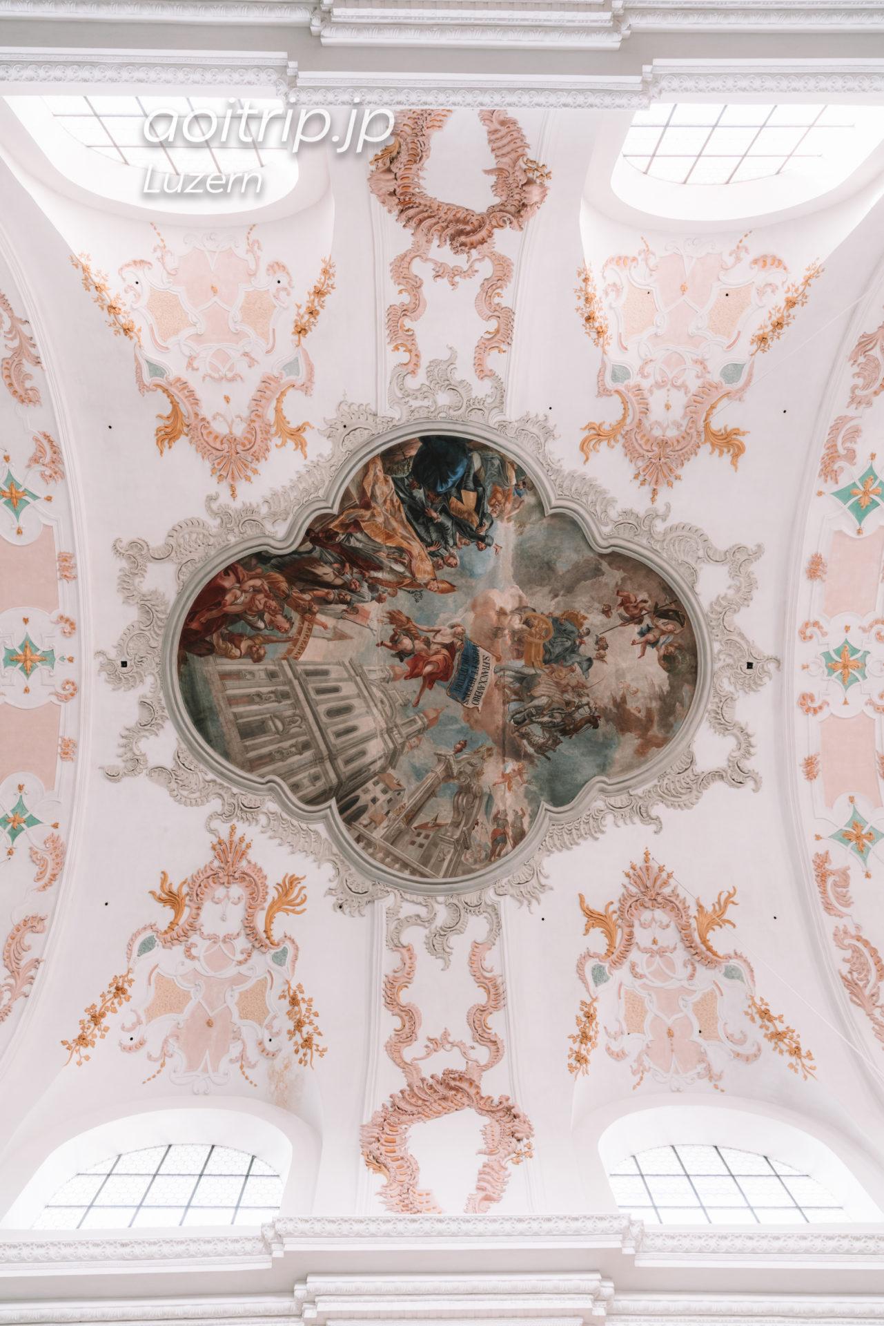 スイス ルツェルンのイエズス会教会(Jesuitenkirche)「Glory of Saint Francis Xavier」のフレスコ画