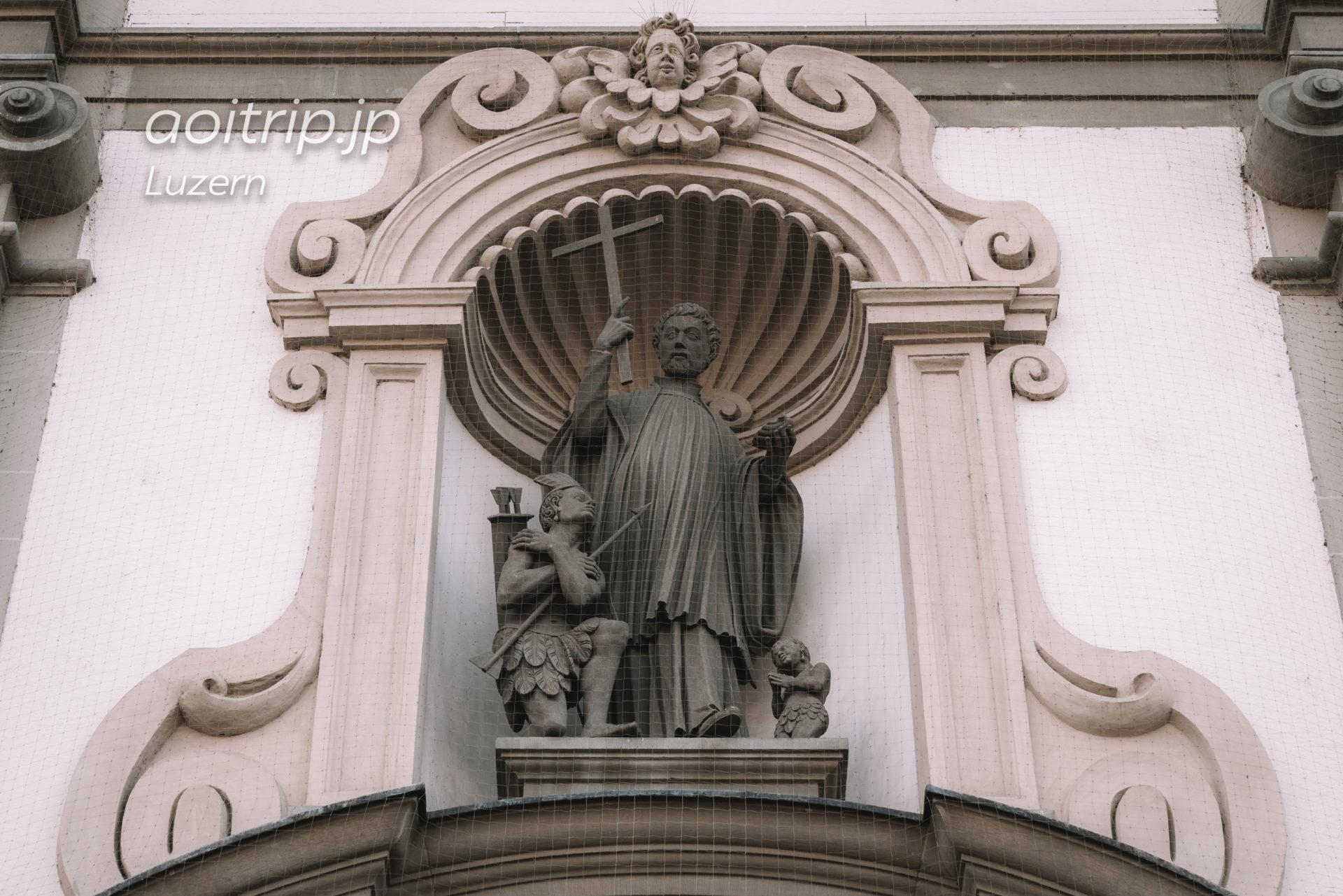 スイス ルツェルンのイエズス会教会(Jesuitenkirche)のフランシスコザビエル像