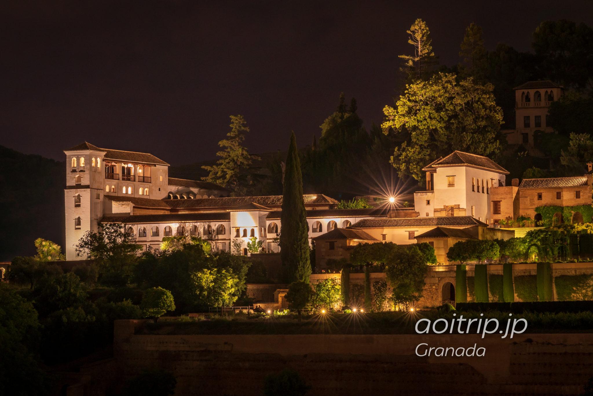 夜のアルハンブラ宮殿 ヘネラリフェGeneralife