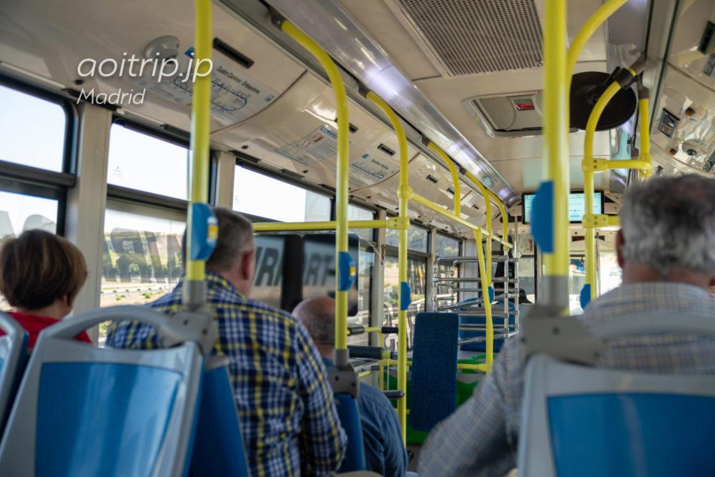 マドリッド空港エアポートバスの車内