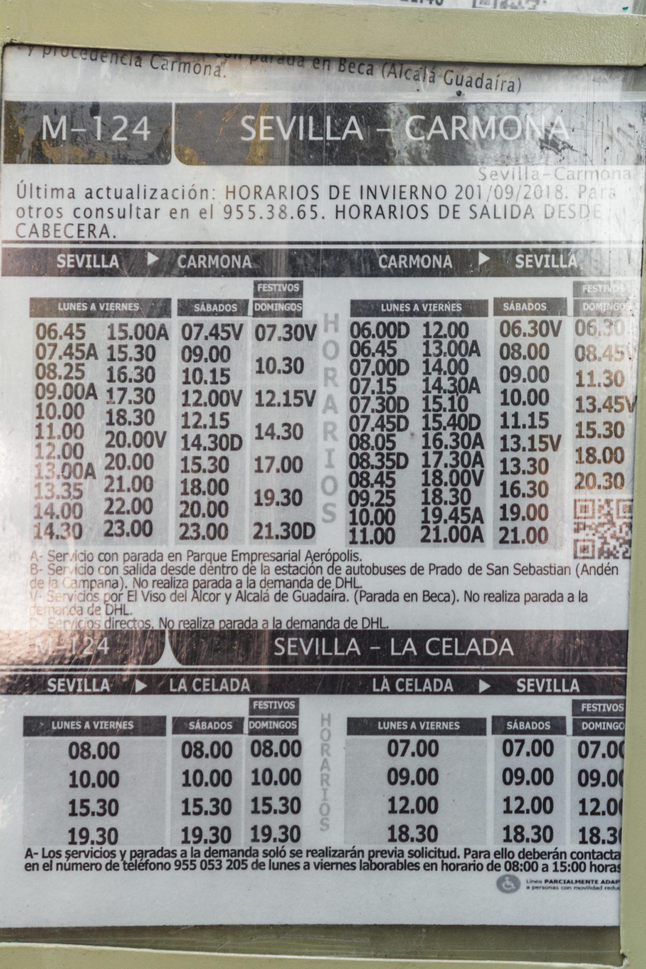 セビージャからカルモナ行きのバス時刻表