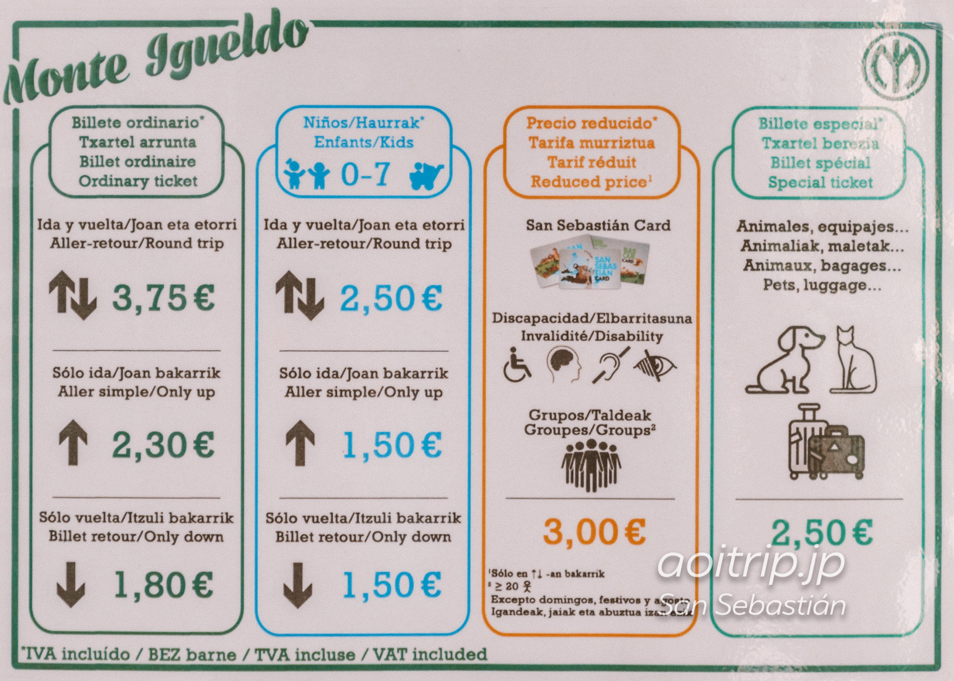 モンテイゲルドのケーブルカー料金表