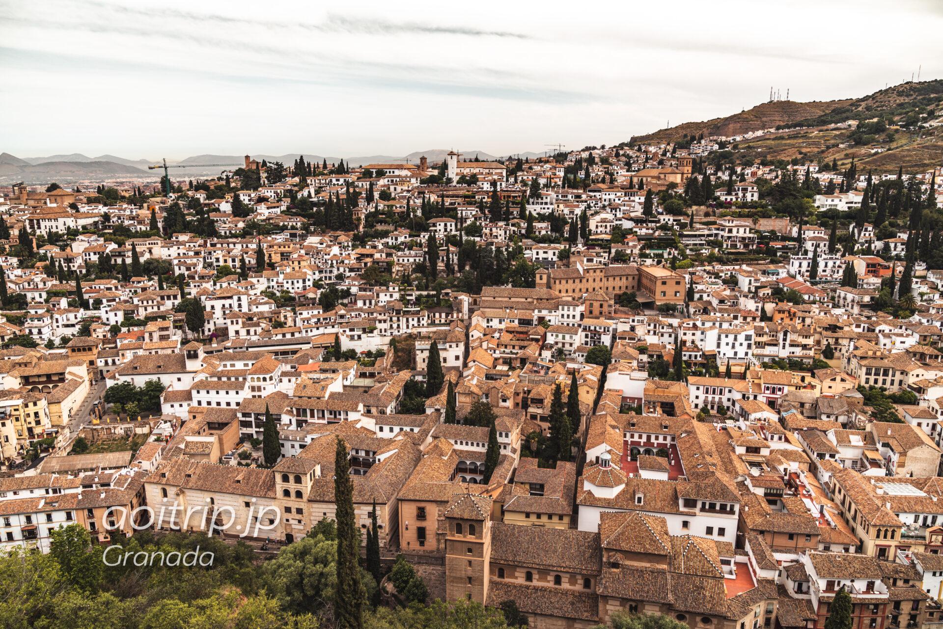 アルハンブラ宮殿アルカサバ クーボの塔から望むアルバイシン地区の街並み・眺望