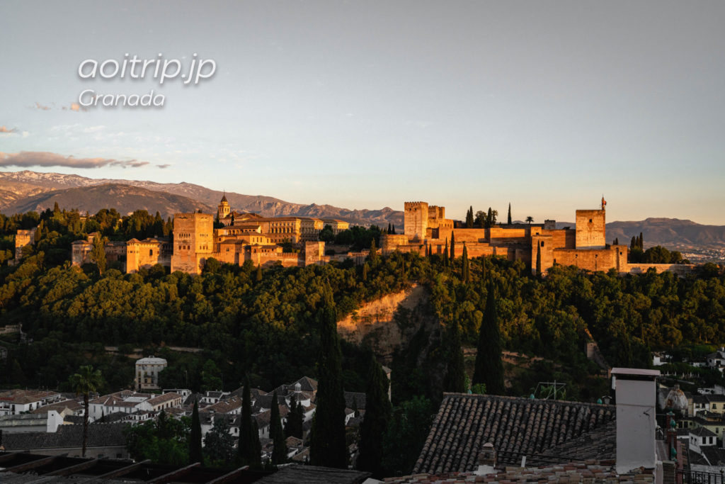 サンニコラス広場展望台から望むアルハンブラ宮殿