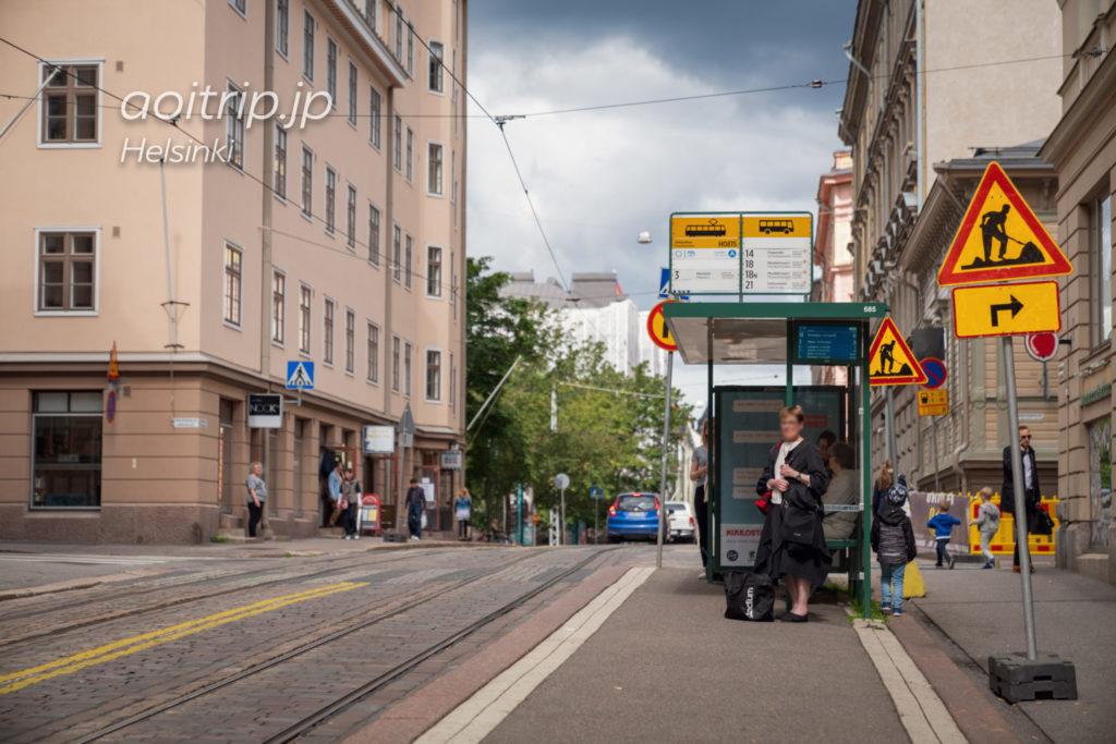 ヘルシンキかもめ食堂近くの停留所Viiskulma