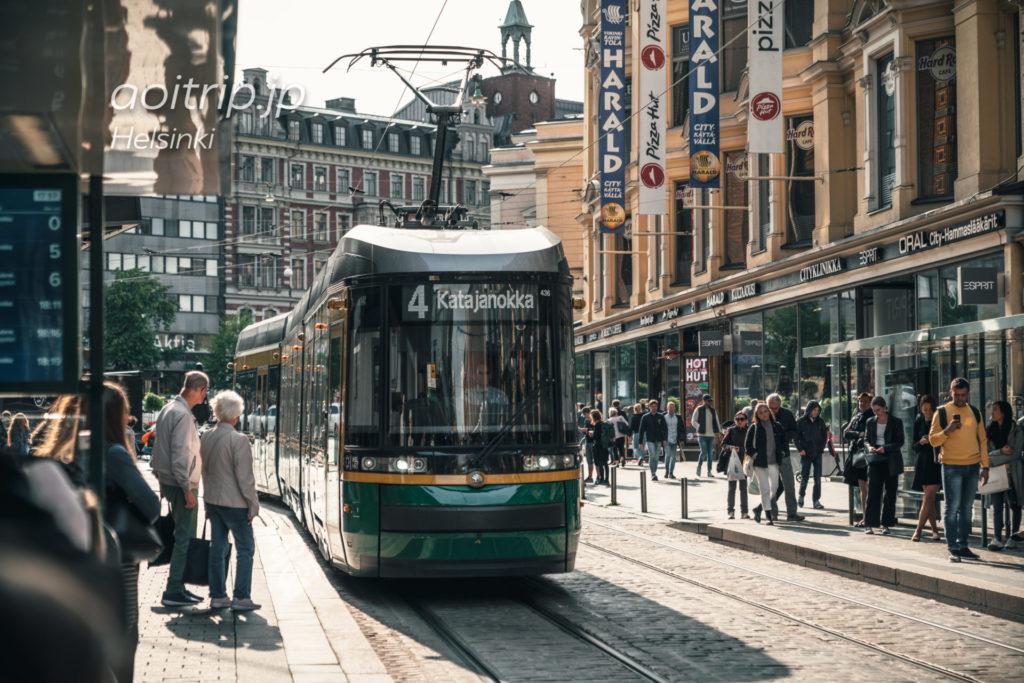 ヘルシンキの路面電車4番線 Katajanokka行き