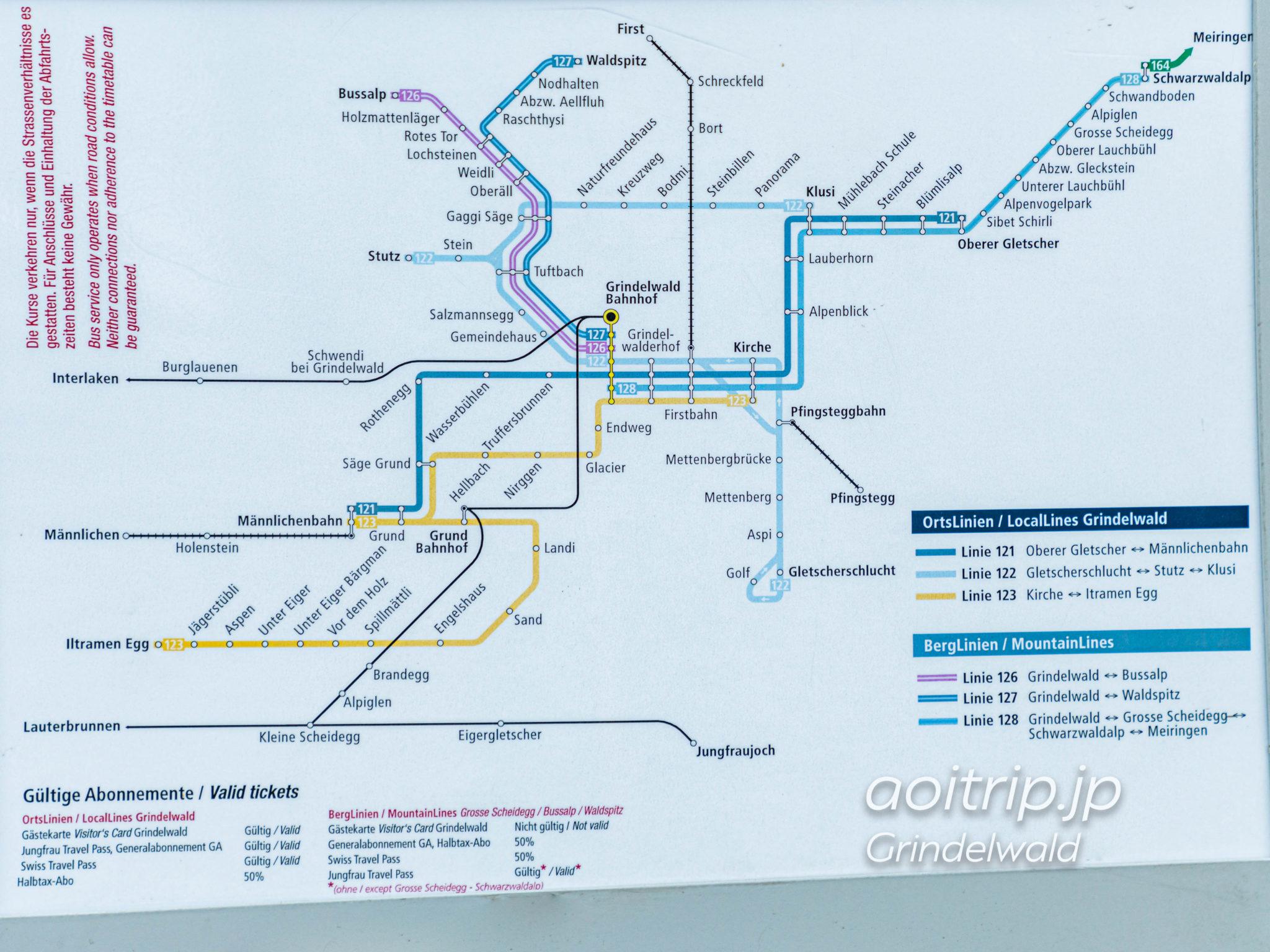 グリンデルワルトバスの路線図