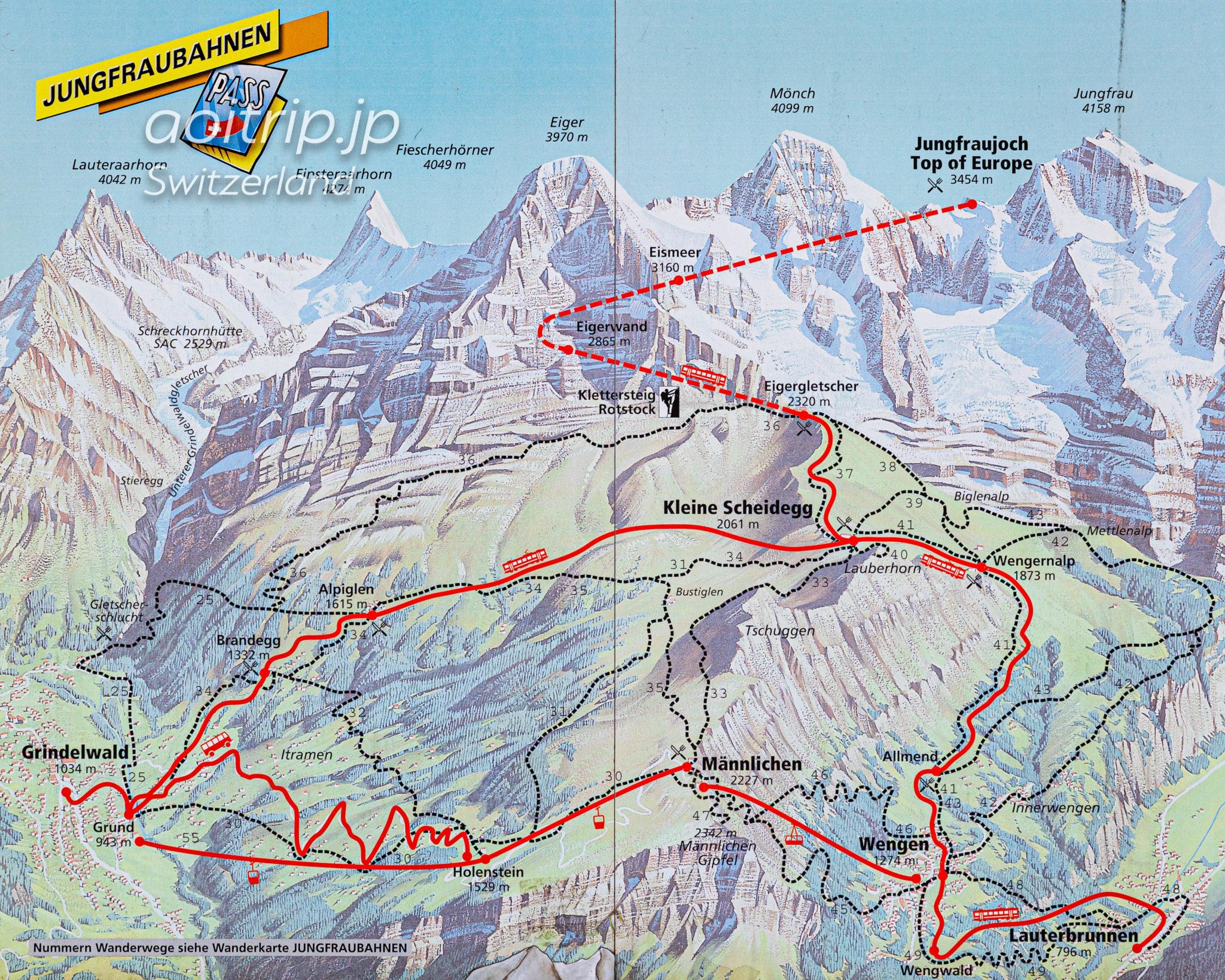 ユングフラウ(Jungfrau)のマップ