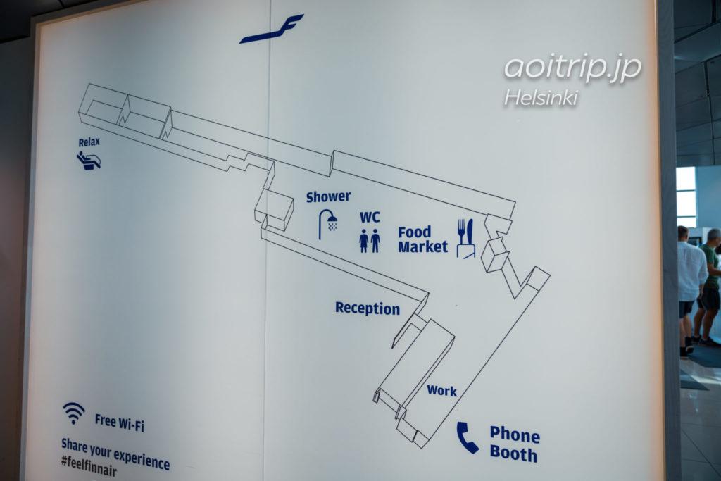 ヘルシンキヴァンター国際空港「シェンゲン協定加盟国エリア」にあるフィンエアーラウンジ 案内図