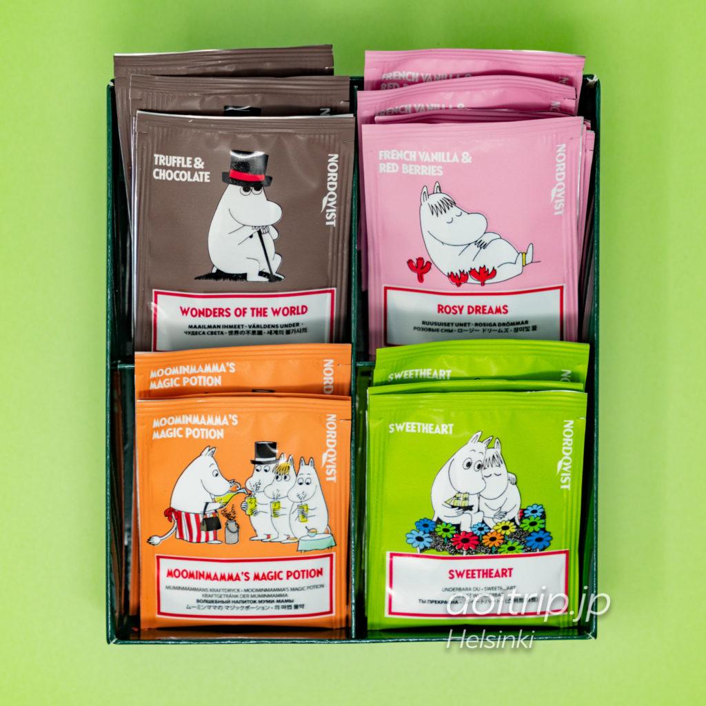 ヘルシンキ ヴァンター国際空港のムーミンコーヒーのショップ ノードクヴィスト ティーバッグセット Nordqvist Teabags Set
