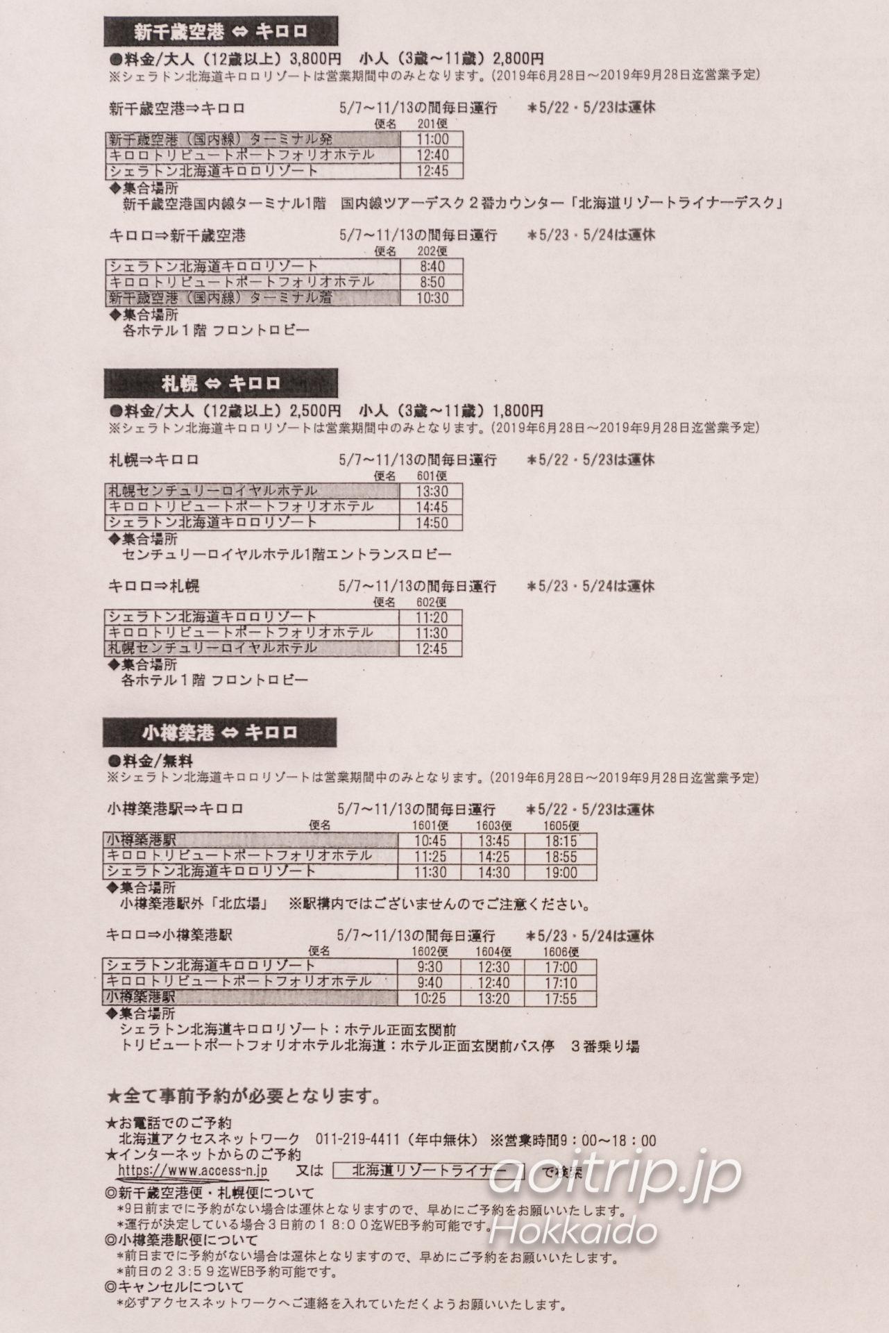 キロロ トリビュートポートフォリオホテル 北海道のバス時刻表情報