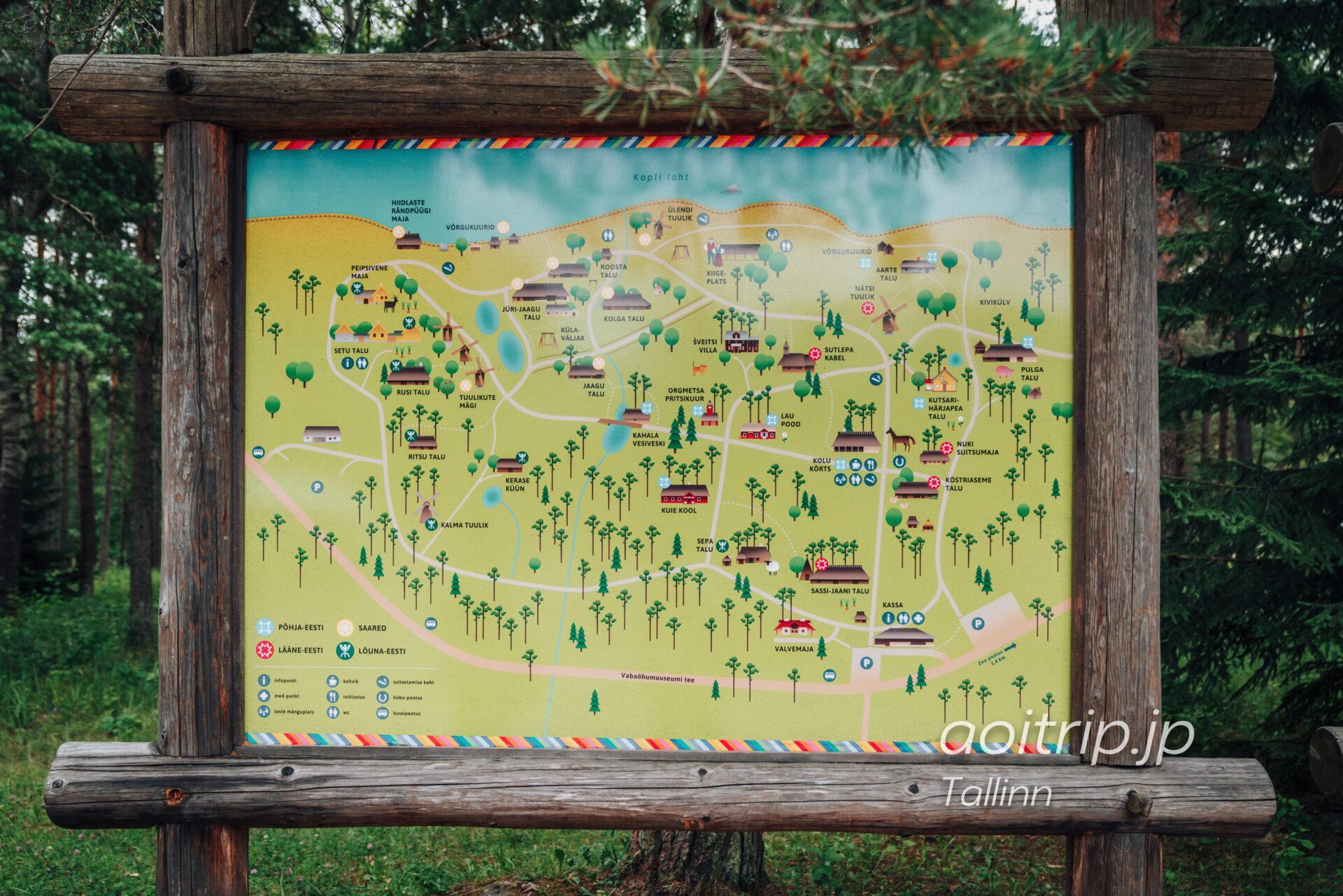 エストニア野外博物館の案内図