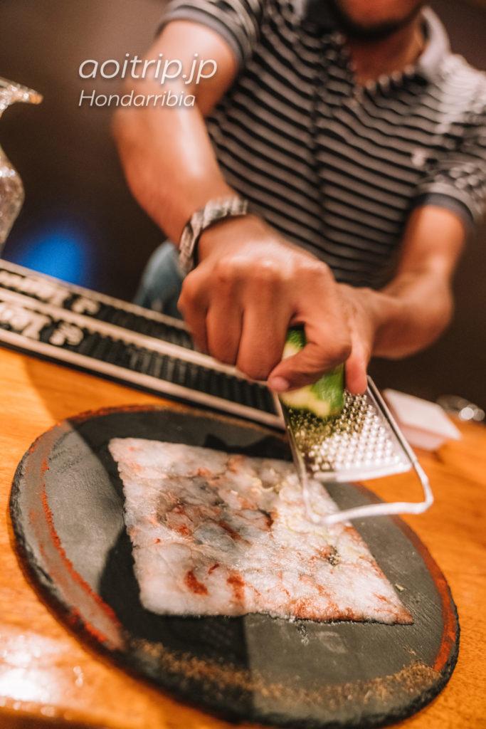 """Gastroteka Danontzat Carpaccio de """"sashimi"""" de gamba de palamós con ralladura de citricos"""