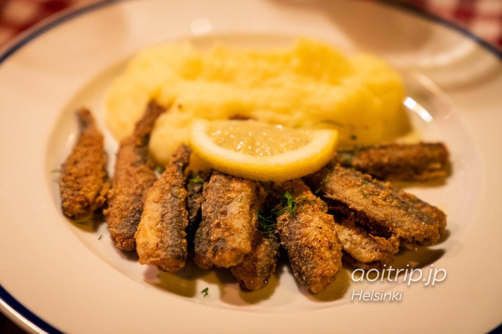 ヘルシンキのレストラン「Zetor」バルティックニシンのフライ