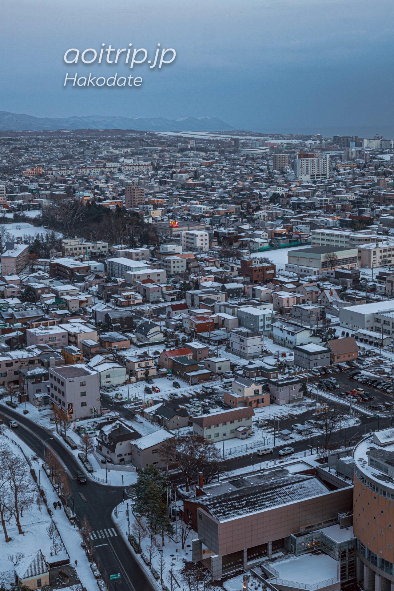 雪が積もる冬の五稜郭タワーからの眺望 函館空港