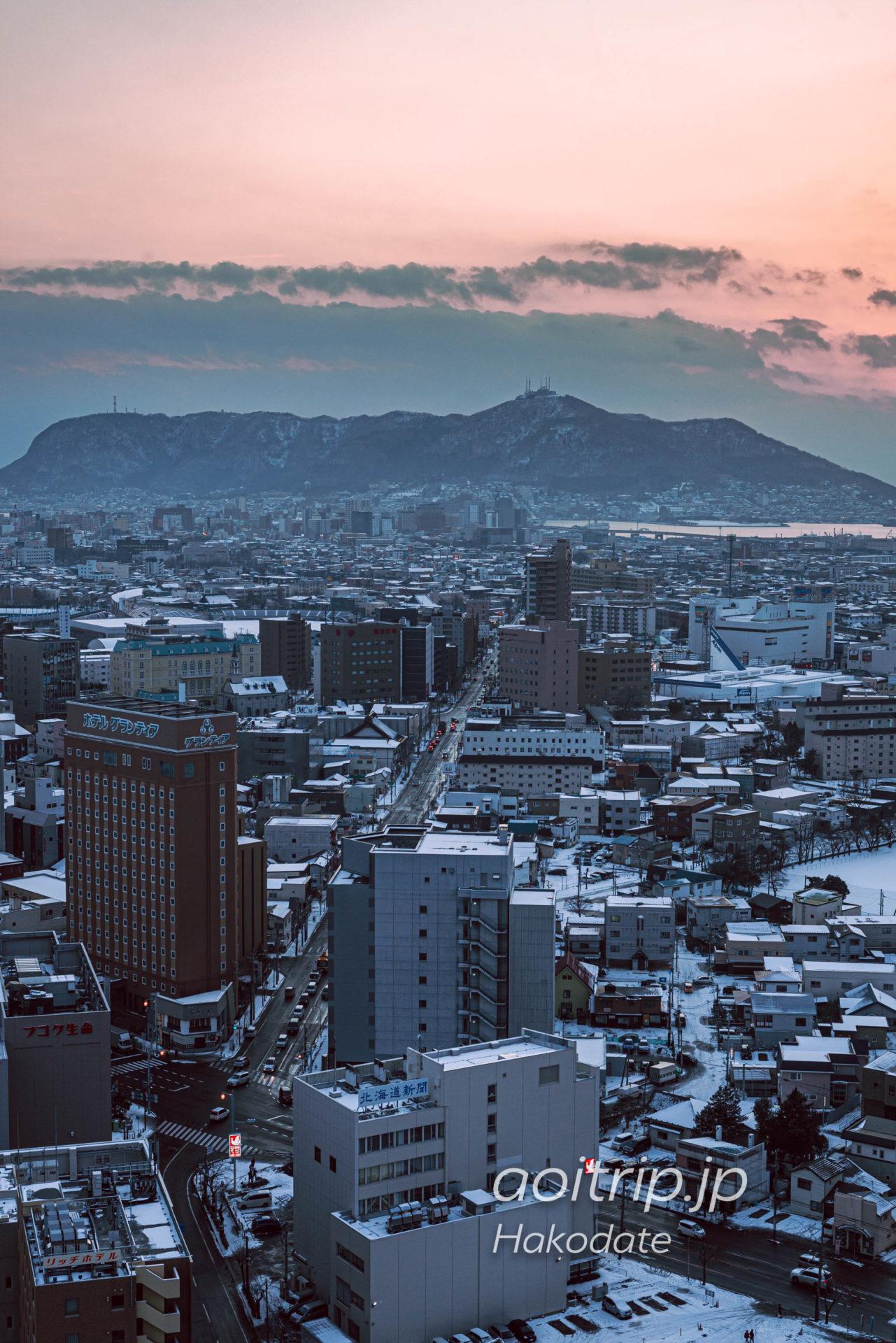 雪が積もる冬の五稜郭タワーからの眺望 函館山