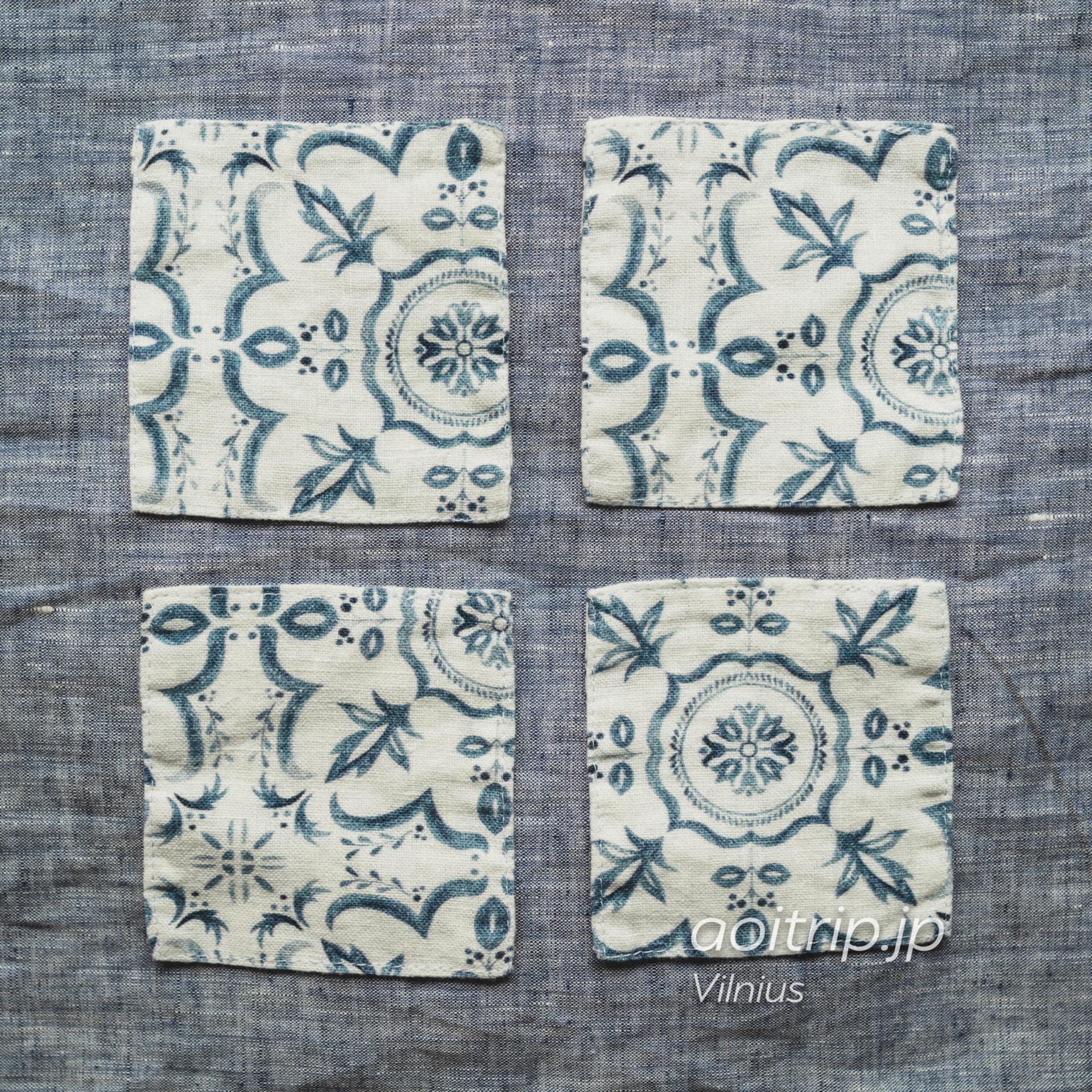 リトアニア ヴィリニュスのリネンテイルズ(Linen Tales) 100%リネンのコースター Coasters 100%Linen