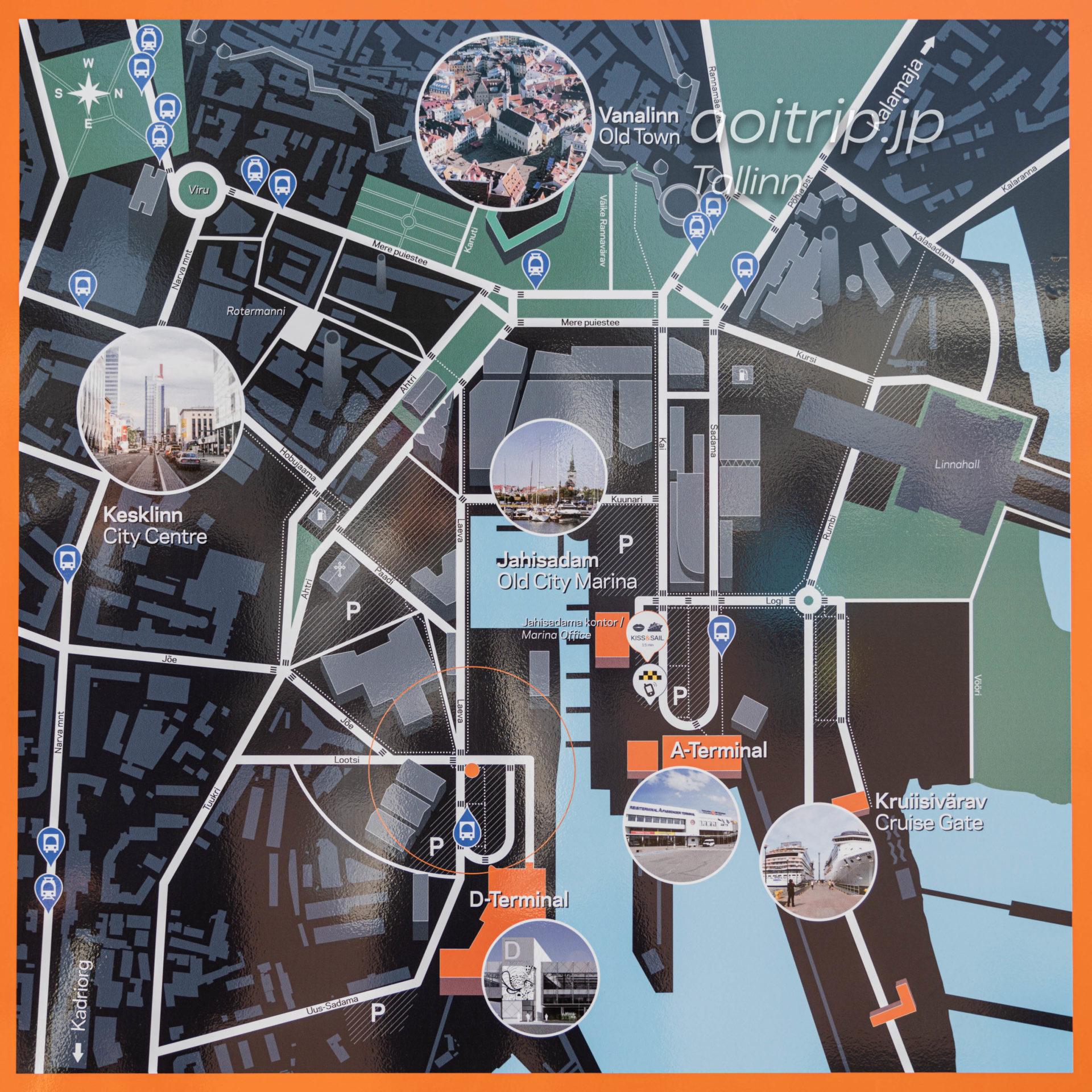 タリン フェリーターミナルの地図
