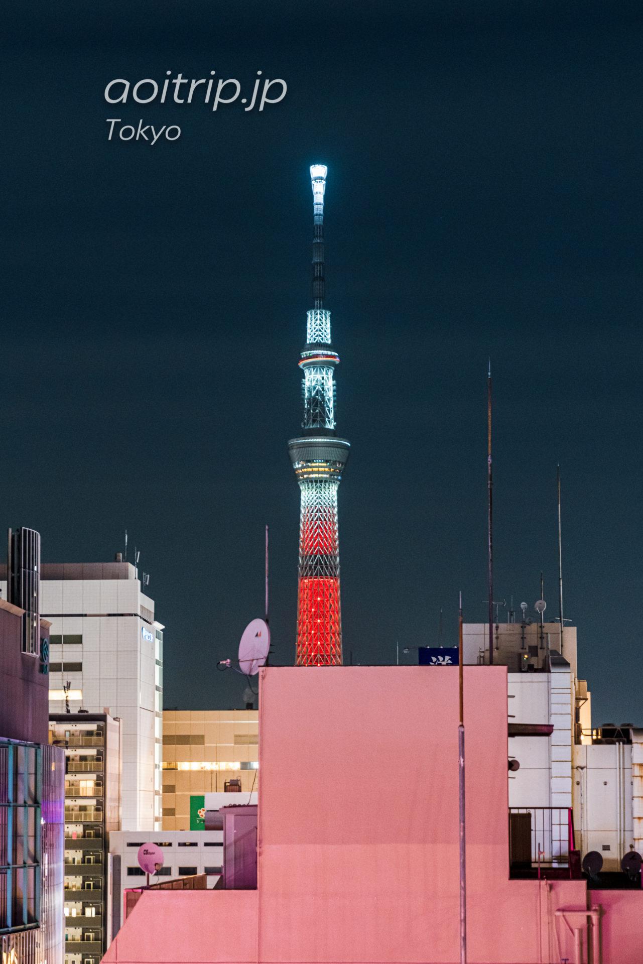 モクシー東京錦糸町 Moxy Tokyo Kinshichoの前から撮影した東京スカイツリー