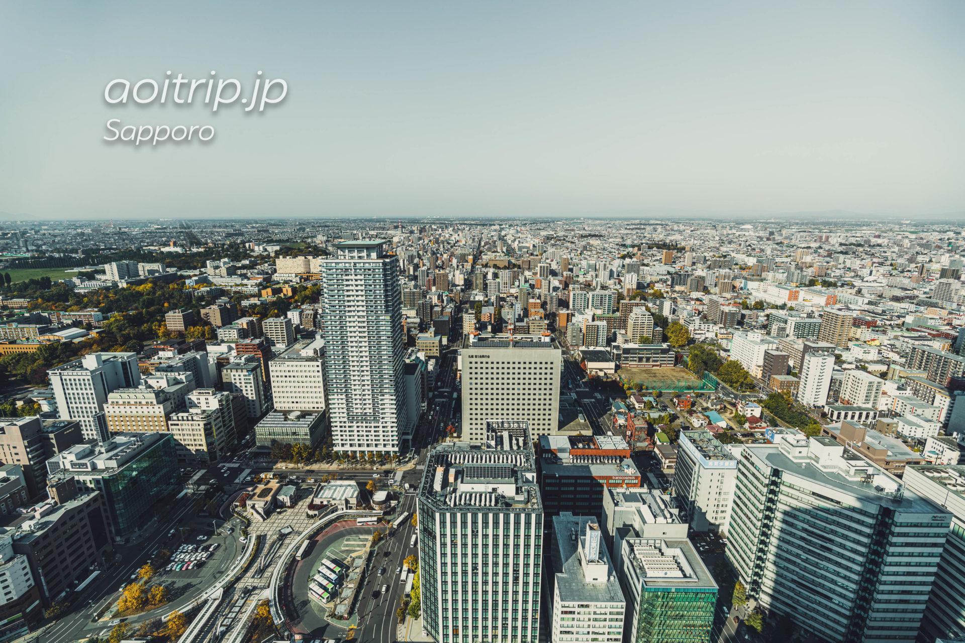 札幌JRタワー展望室T38からの眺望 北側(石狩湾、丘珠空港、小樽)