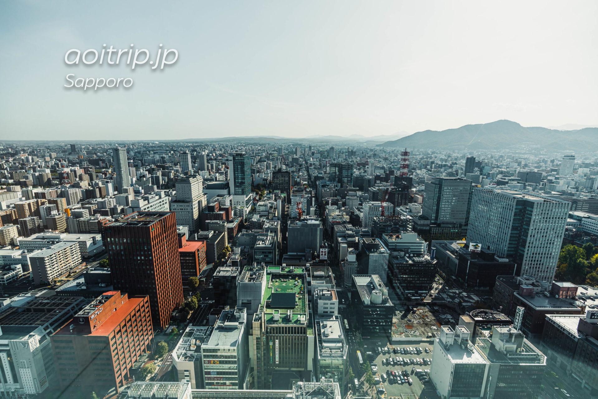 札幌JRタワー展望室T38からの眺望 南側(薄野、札幌ドーム、千歳)