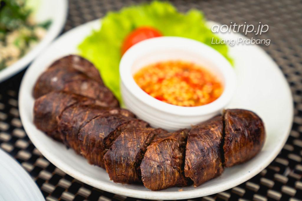 ルアンパバーンのCoconut Garden Sai Oua Krouaille 46,000キープ(Spice Luang Prabang Buffalo Sausage)
