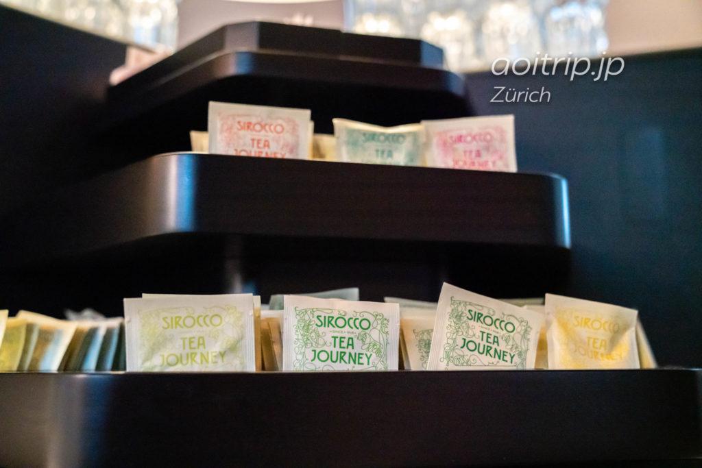 チューリッヒ国際空港 スイス航空のビジネスクラスラウンジ お茶