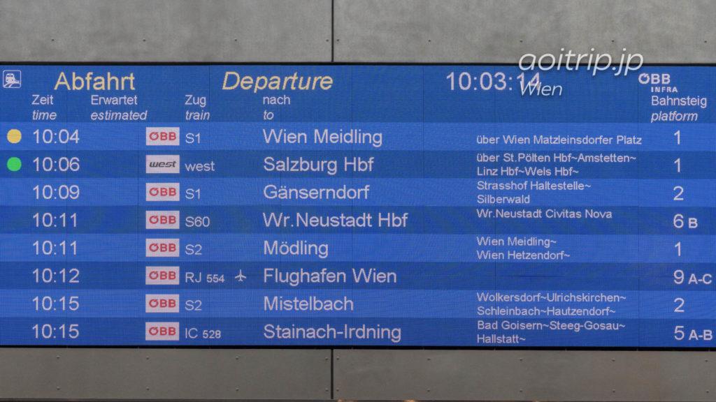 ウィーン中央駅の電光掲示板