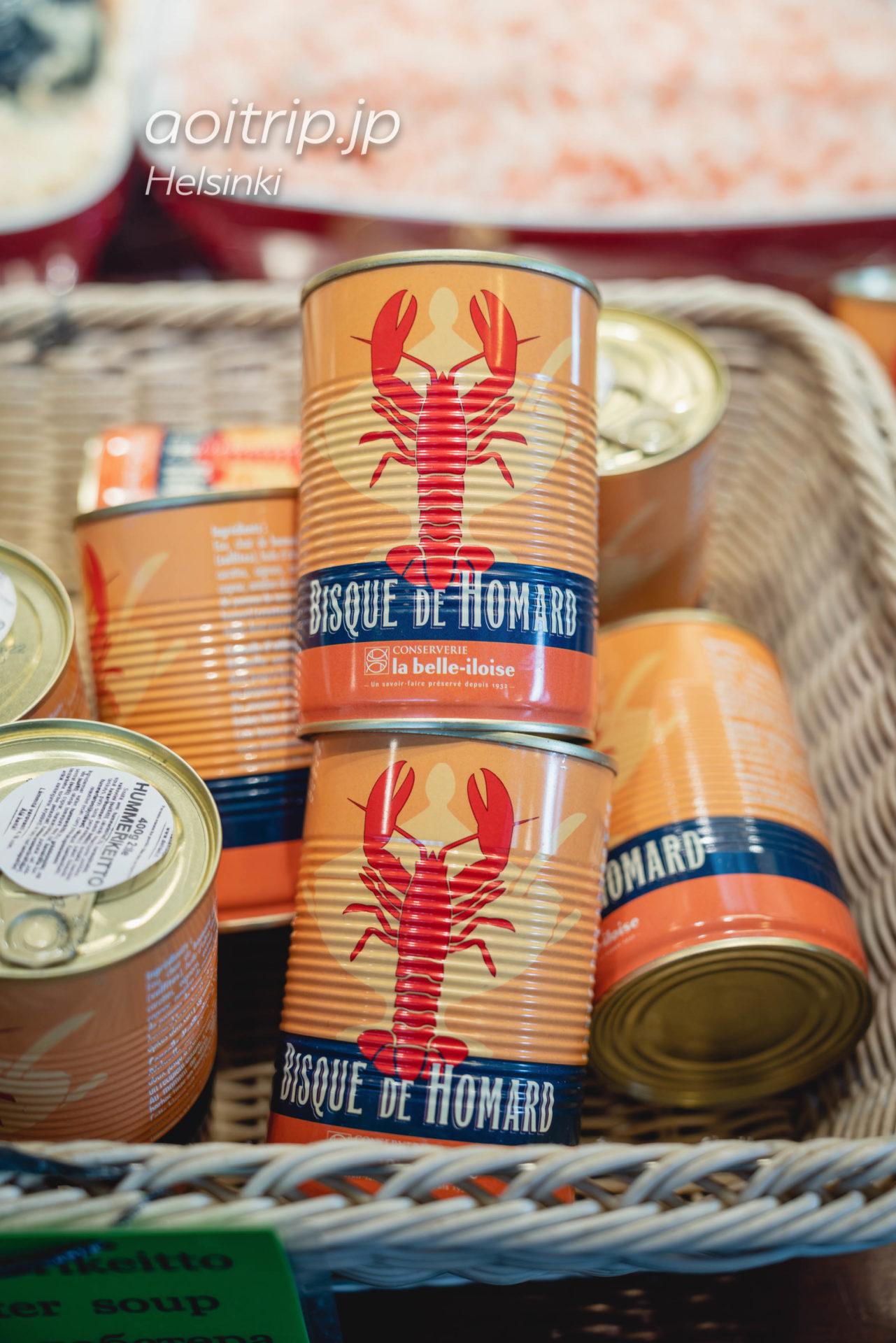 ヘルシンキのオールドマーケットホール ザリガニの缶詰