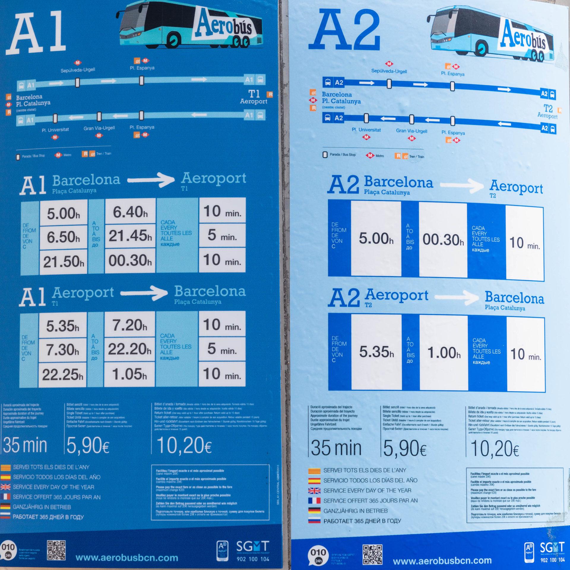 バルセロナ空港のエアポートバス 時刻表