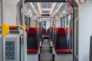 ヘルシンキのトラム(路面電車)の車内