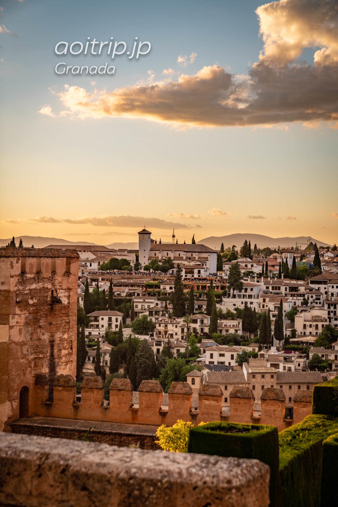 アルハンブラ宮殿から望むアルバイシン地区サンニコラス広場