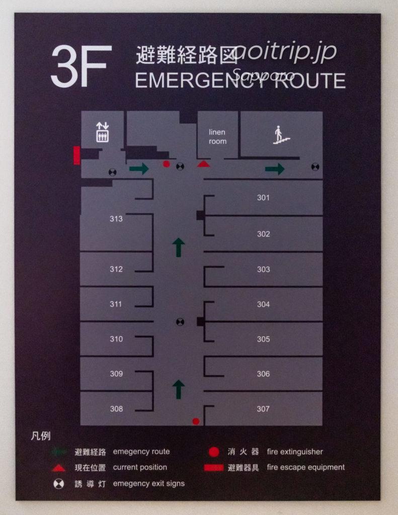 ホテルポットマム札幌の3Fフロアマップ