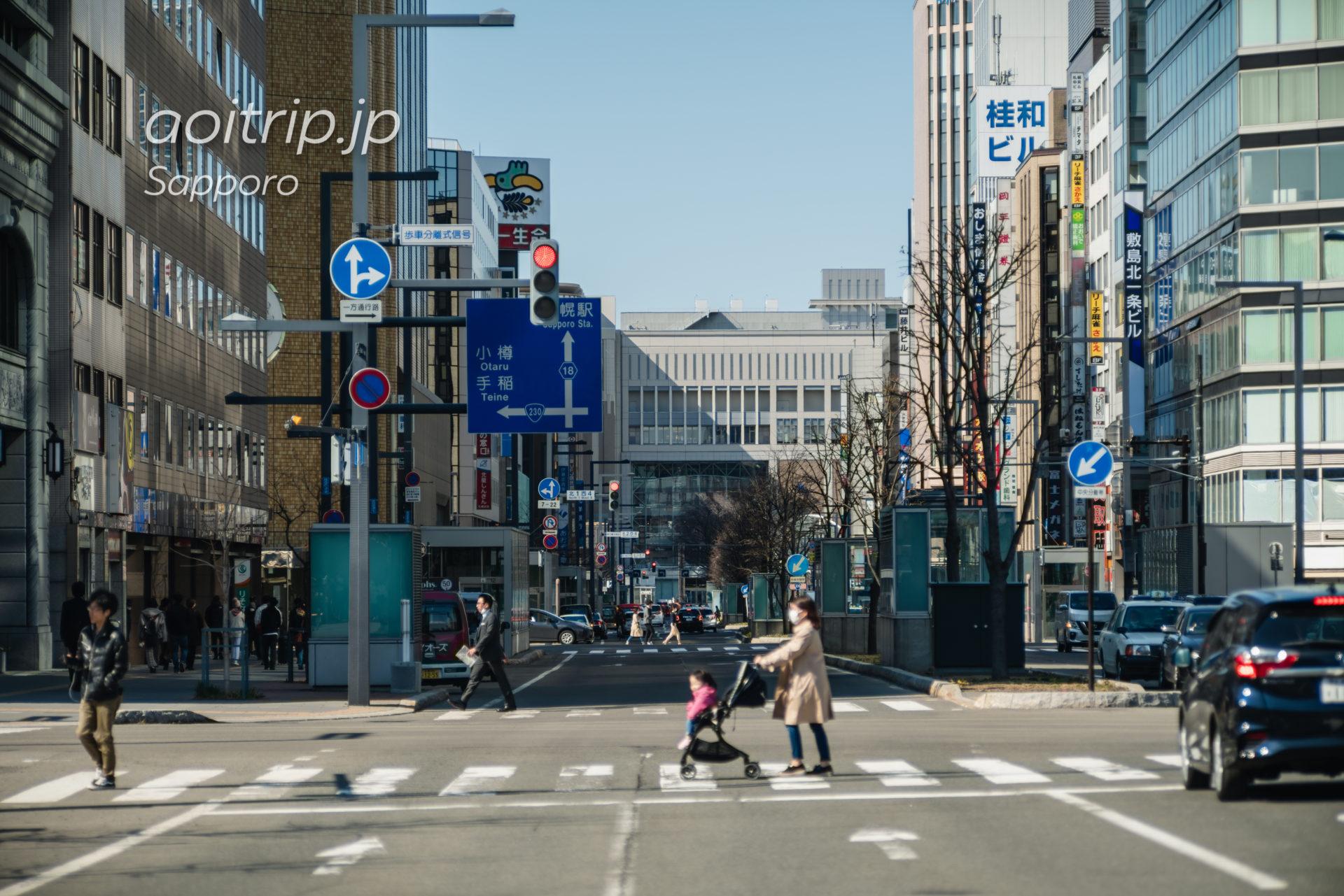 日本光学 Nikon Nikkor-Q・C 135mm F3.5の作例 札幌大通公園から写す札幌駅