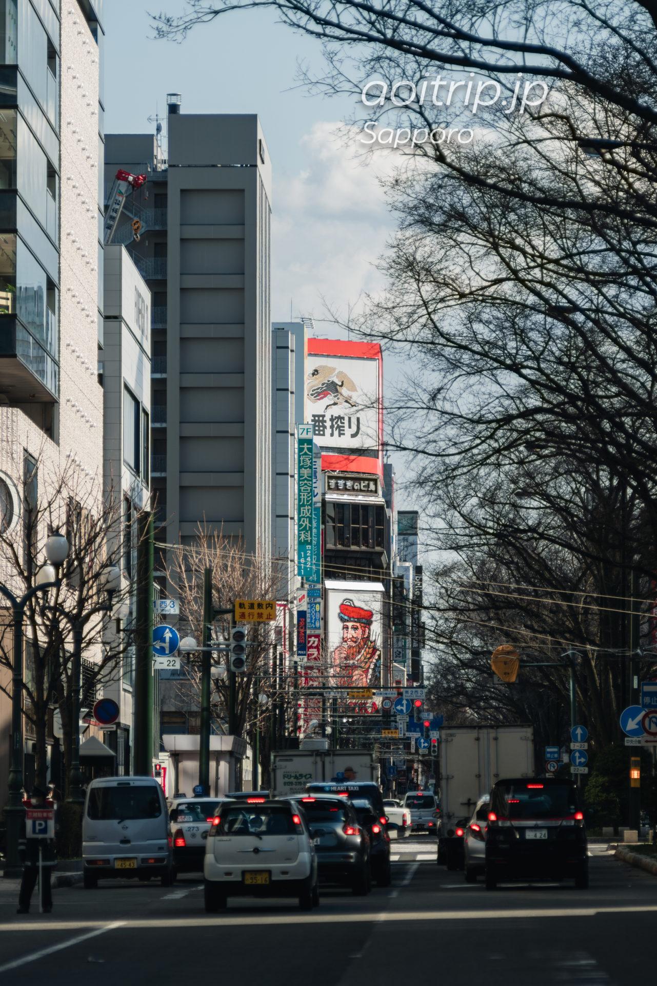日本光学 Nikon Nikkor-Q・C 135mm F3.5の作例 札幌大通公園からニッカ大看板