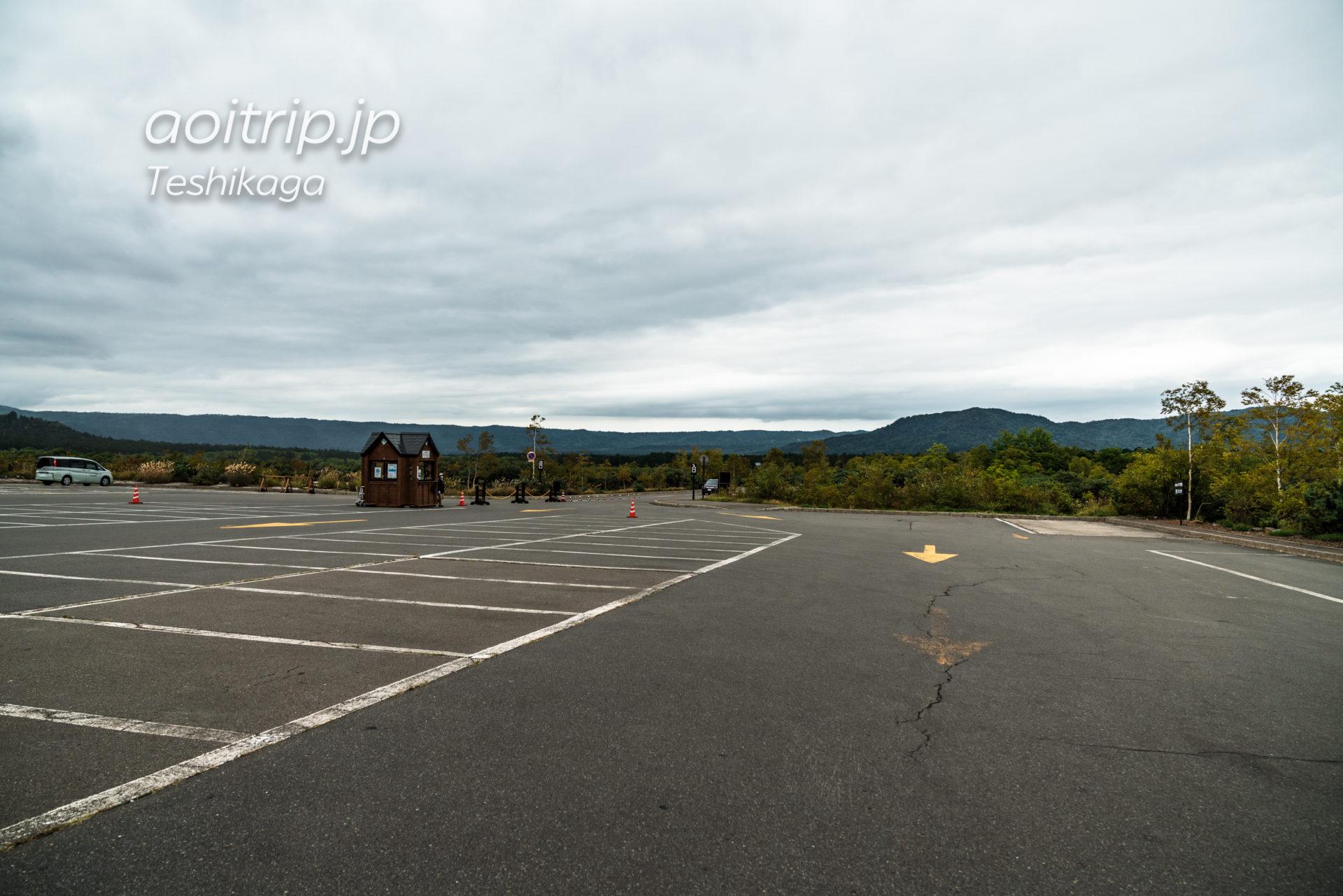 硫黄山レストハウスの駐車場