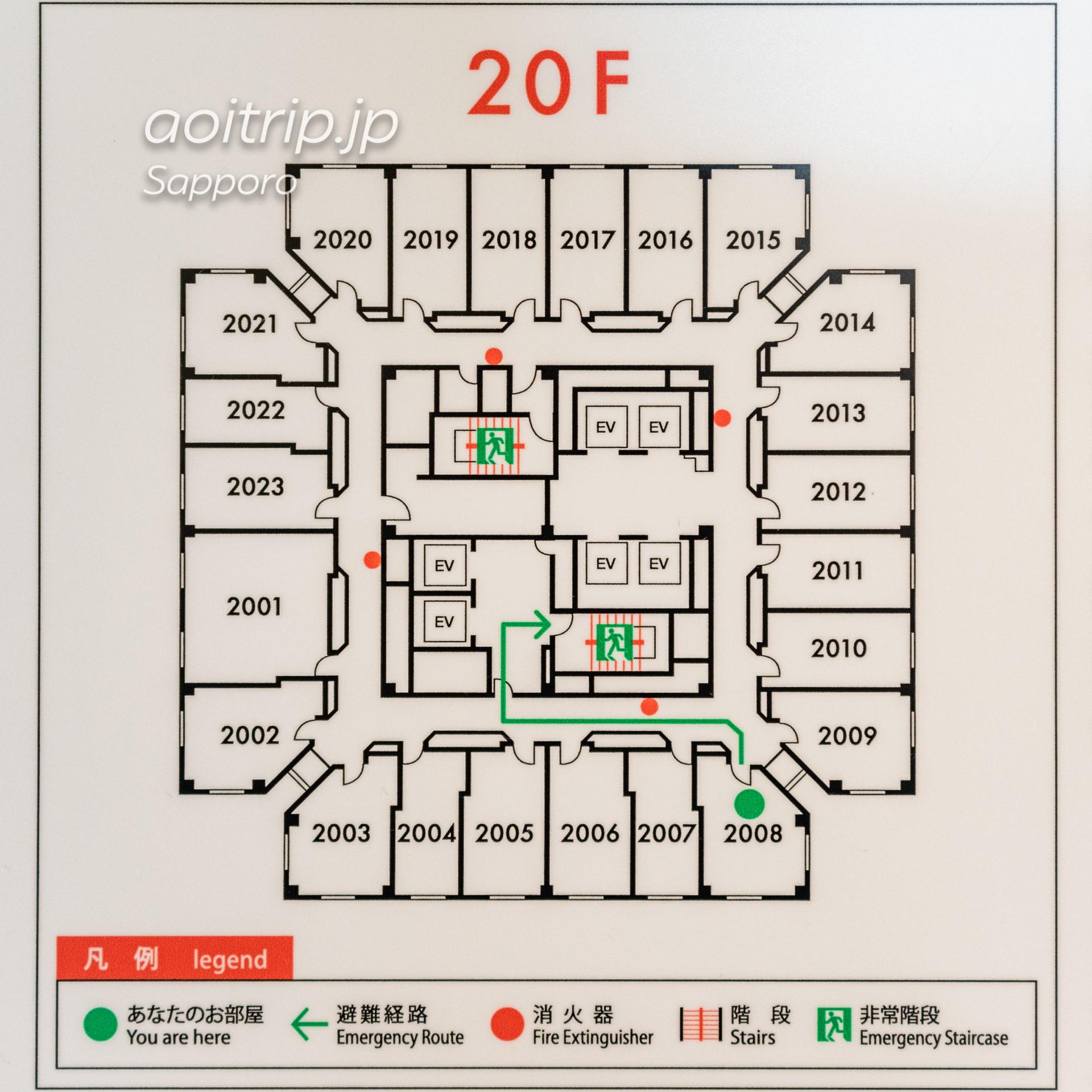 ホテルエミシア札幌のフロアマップ