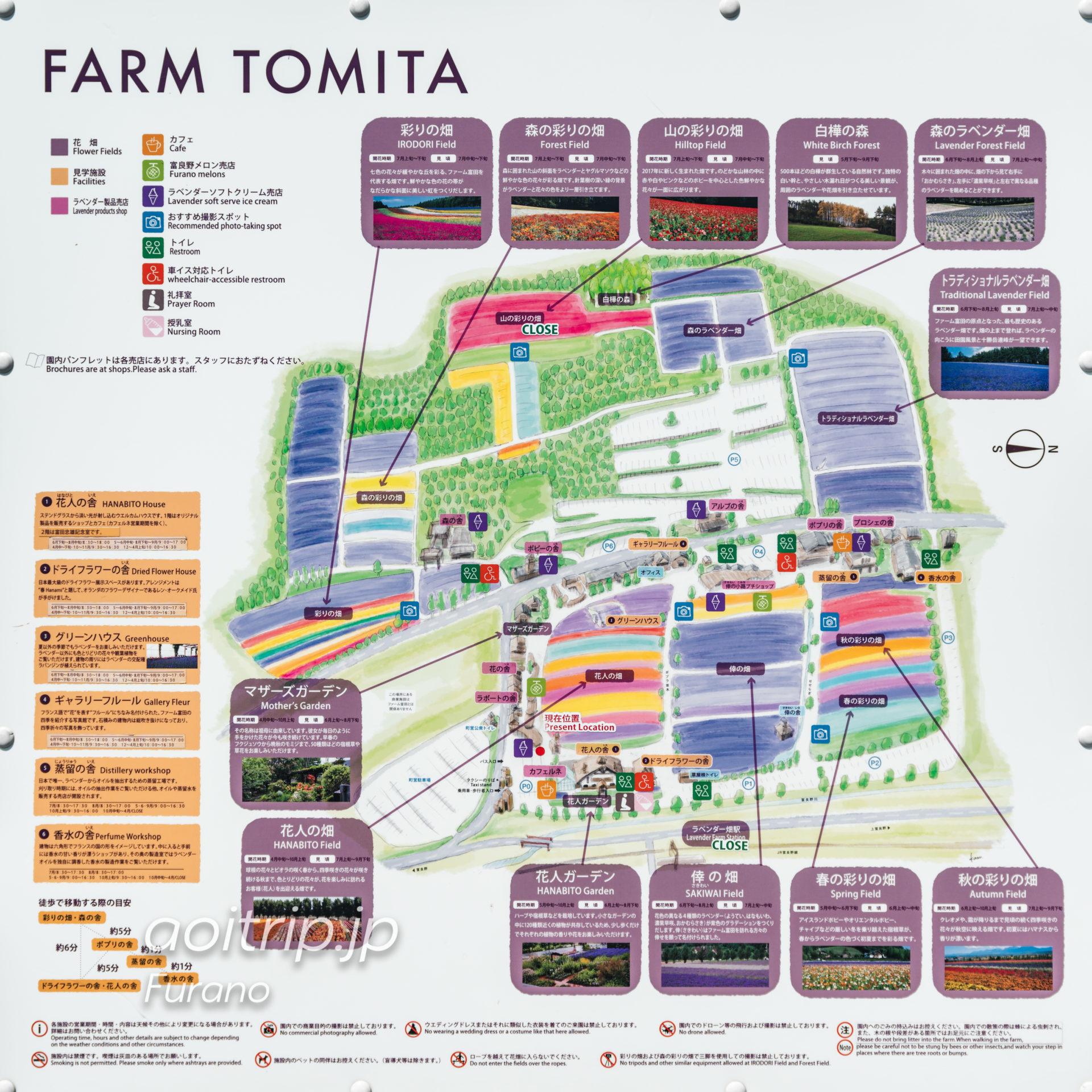 ファーム富田の案内マップ