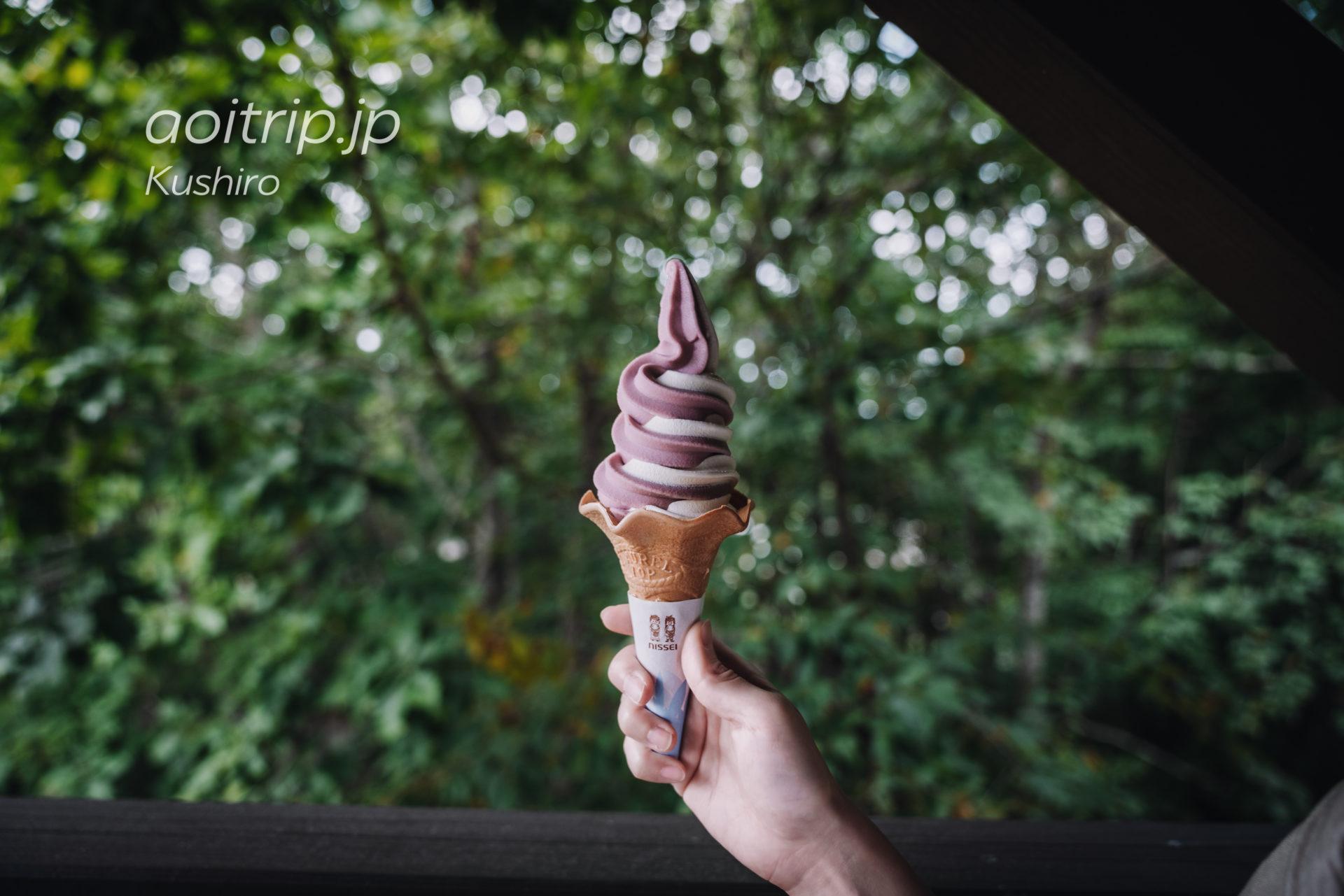 細岡ビジターズラウンジ バニラ&ぶどうのソフトクリーム