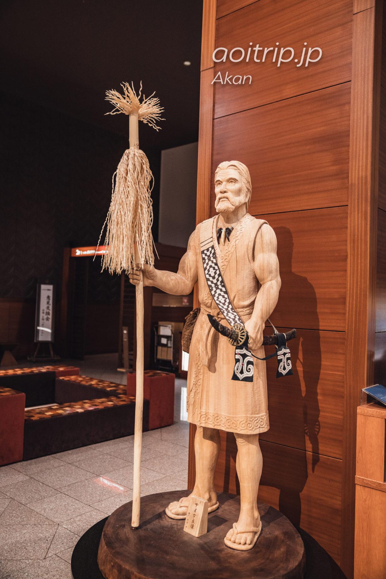 あかん湖 鶴雅ウイングスのロビー 故藤戸竹喜氏によるアイヌ文化を表現した彫刻