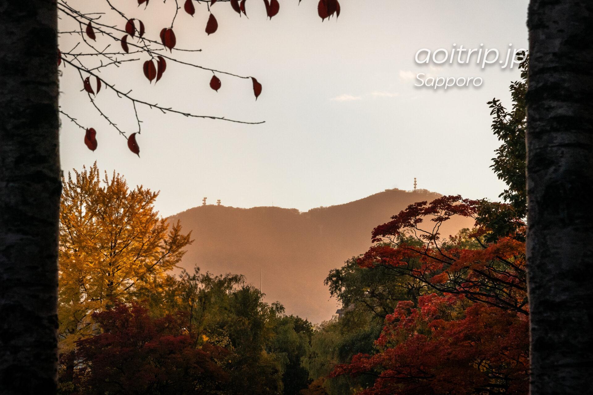 札幌中島公園の紅葉と藻岩山