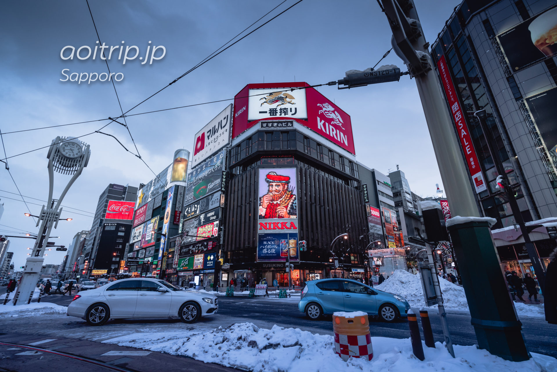 札幌すすきの交差点 ニッカ看板 Nikka Whisky Signboard, Susukino, Sapporo