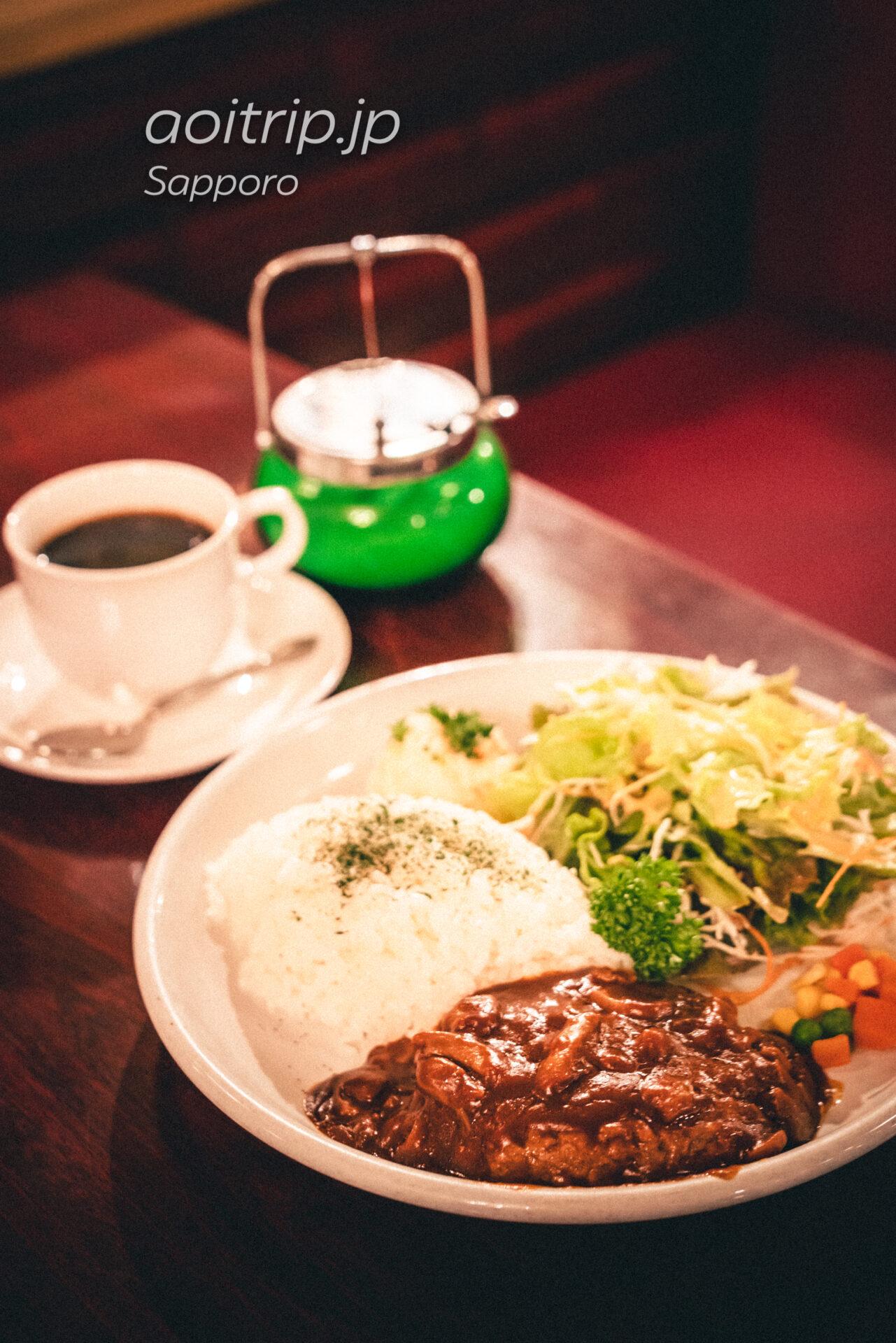 札幌 純喫茶オリンピア ランチのきのこハンバーグ