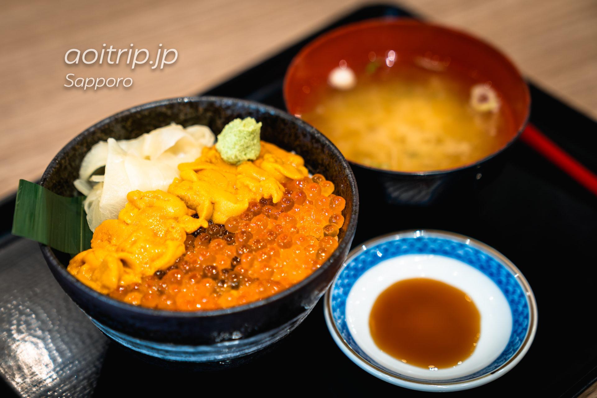 札幌 二条市場 大磯のウニ・イクラ二色丼