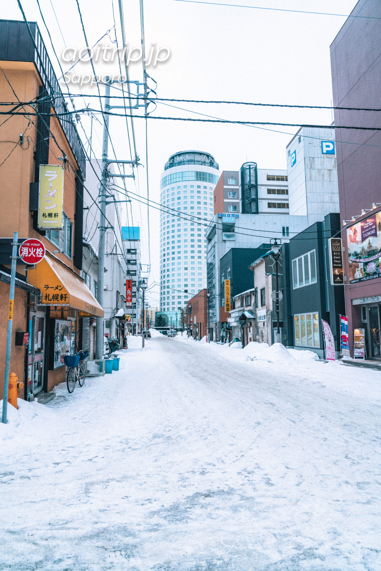 狸小路10丁目から札幌プリンスホテル