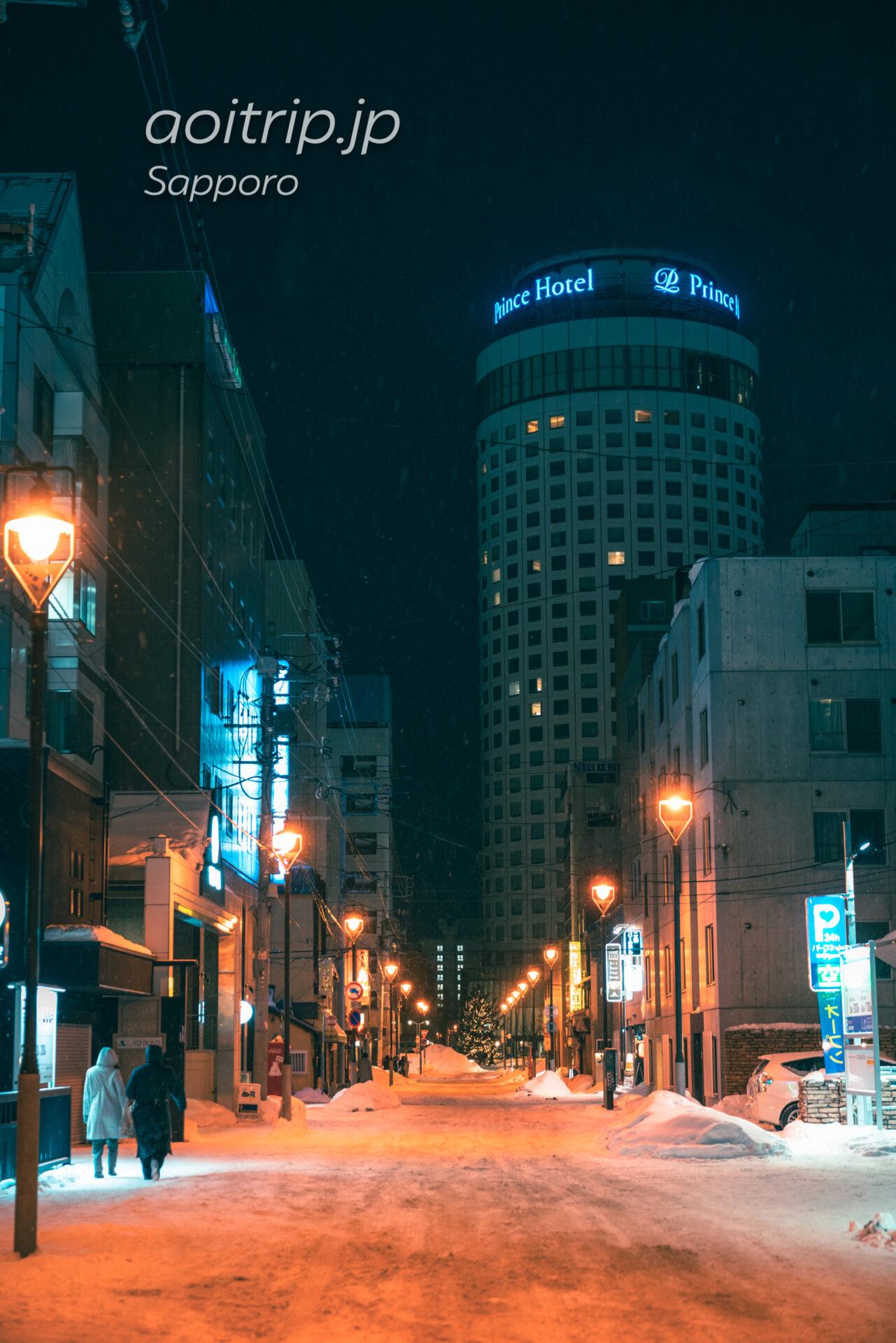 狸小路9丁目と札幌プリンスホテルの夜景