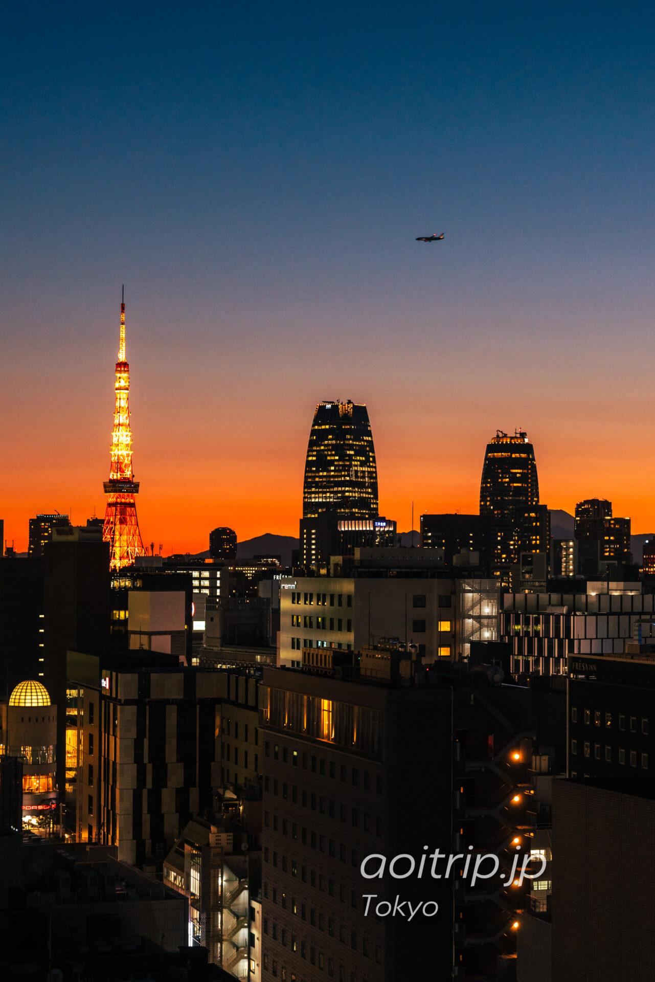 ACホテル東京銀座 AC Hotel Tokyo Ginza 屋上ルーフトップから東京タワーと富士山・大山を望む