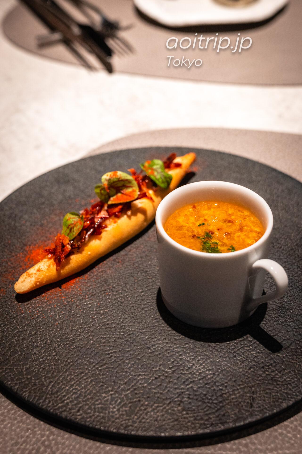 レストラン AC Kitchen スペインのニンニクスープ ソパ・デ・アホ 燻製パプリカ風味