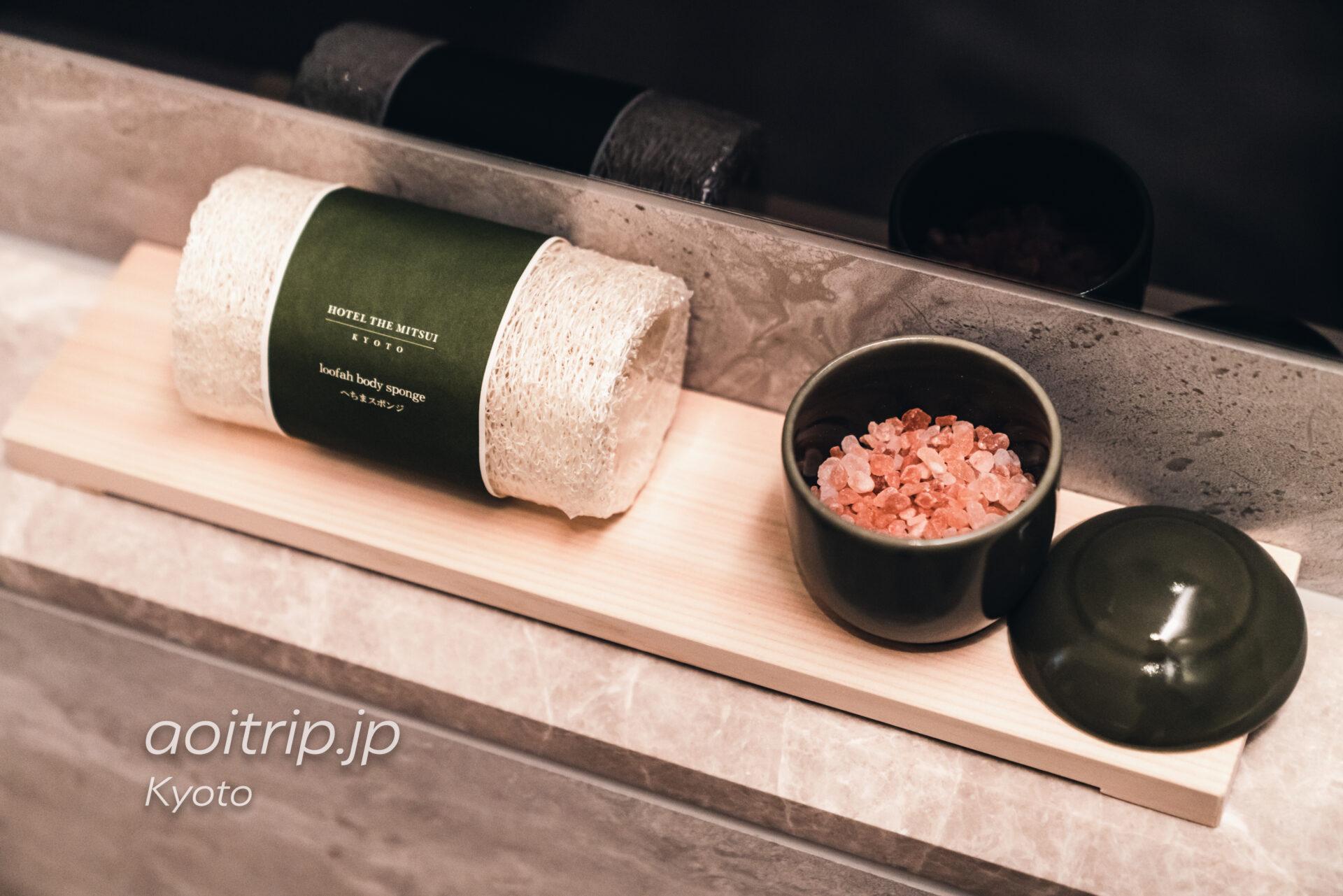 HOTEL THE MITSUI KYOTO デラックススイートのバスソルトとヘチマスポンジ