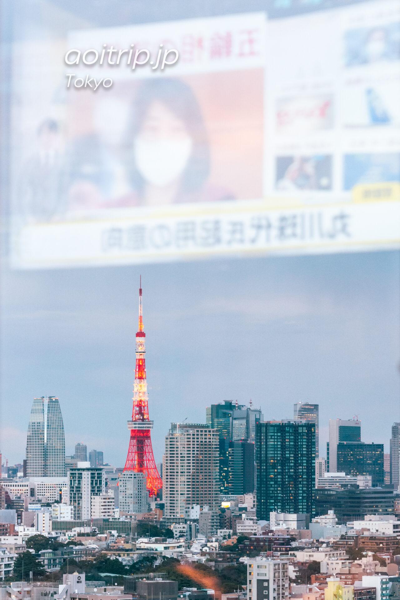 ウェスティン東京のクラブラウンジから東京タワーを望む